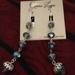 Gemma Layne Silver & Blue Bead Drop Earrings